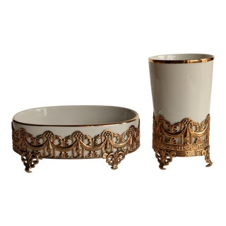 Stylebuilt Gold Filigree Vanity Cup and Soap Dish