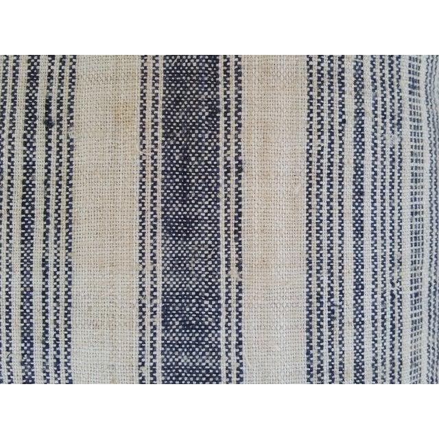 Image of Striped Indigo Homespun Pillows - Pair