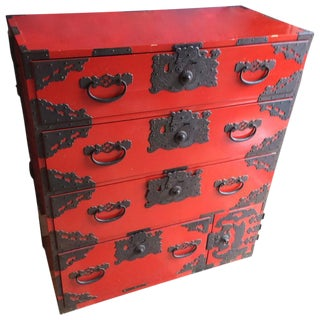 Red Lacquer Chinese Chest of Drawers