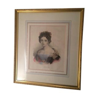 Antique Hand Painted Engraving in Gilt Frame