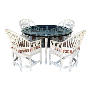 Vintage Table & 4 Rattan Chairs