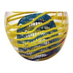 Image of Peacock Blue Ribbon Design Glass Egg Paperweight