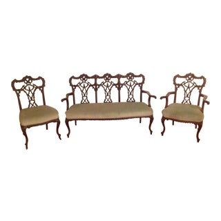 Chippendale Settee and King and Queen Chairs - Set of 3