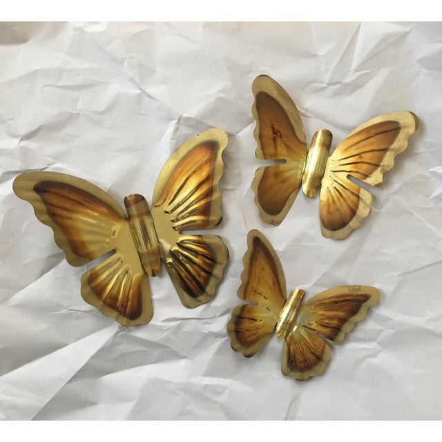 1970s Brass Butterfly Wall Hangings- Set of 3 - Image 2 of 5