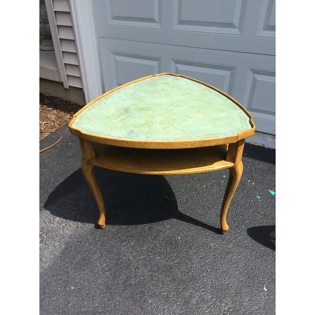 French Provincial Leather Top Side Table - Image 6 of 8
