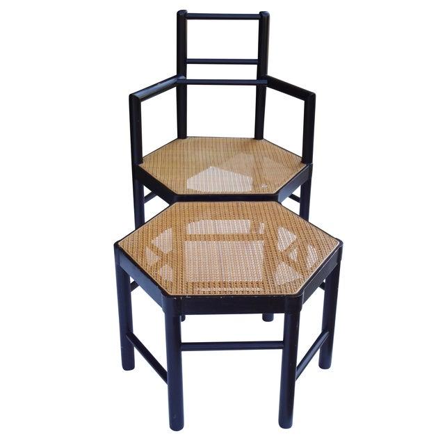 Josef Hoffmann Style Hexagonal Chair & Ottoman Set - Image 5 of 10