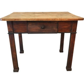 Antique Butcher Block Single Drawer Farm Table