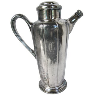 "Silver-Plate Monogram ""C"" Cocktail Shaker"