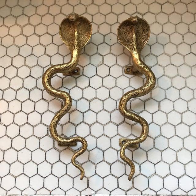 Gold Brass Cobra Door Handles- a Pair - Image 3 of 11