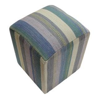 Arya Efren Blue/Green Kilim Upholstered Handmade Ottoman