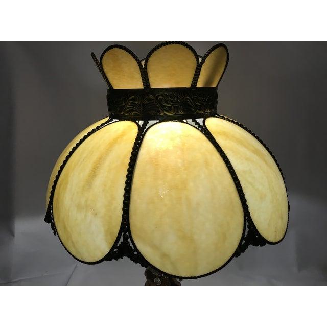 Cream & Tan Slag Glass Lamp Shade - Image 7 of 7