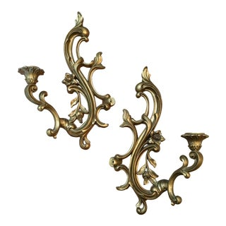 Gold Filigree Resin Sconces - a Pair French Regency