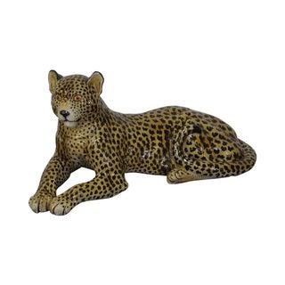 Large Italian Pottery Ceramic Leopard Statue