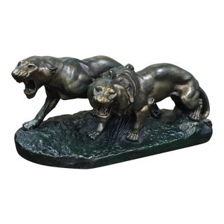 """Huge French Art Deco Terra Cotta Group Of """"Panther Sculpture On Rock"""" Circa 1930s"""
