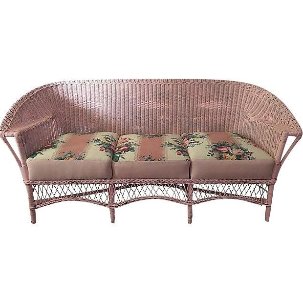 Vintage Pink Wicker Barkcloth Settee Sofa - Image 1 of 8
