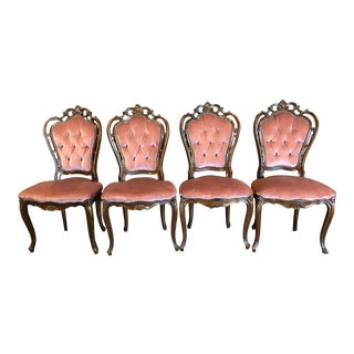 Vintage French Style Blush Velvet Dining Chairs - Set of 4