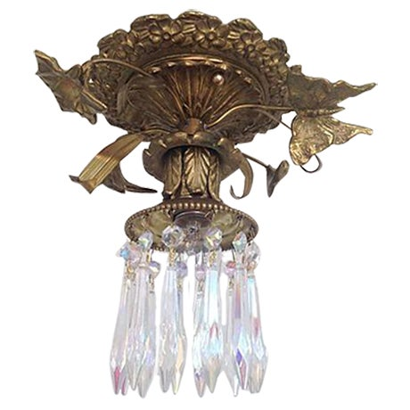 1930s Brass & Crystal Ceiling Light - Image 1 of 6