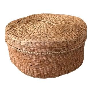 Round Rattan Basket & Lid