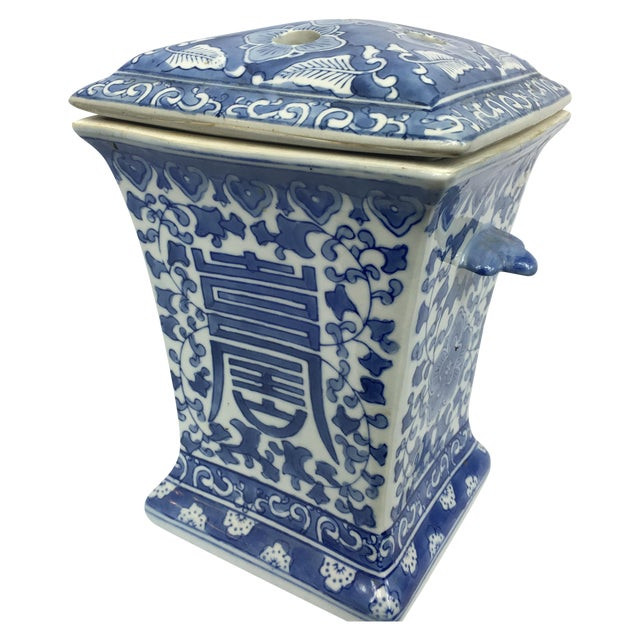 Blue & White Square Chinoiserie Floral Jar - Image 1 of 7