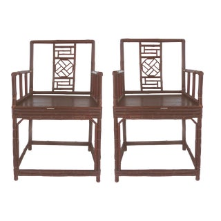 Asian Bamboo Accent Chairs - A Pair
