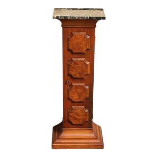 Mid Century Exotic Wood Marble Top Display Pedestal/ Cabinet