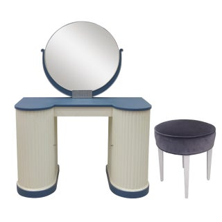 Kittinger Art Deco Vanity With Mirror & Stool
