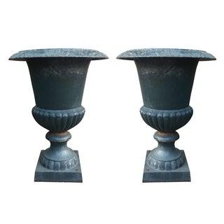 Cast Iron Garden Urns - A Pair