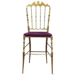 Chiavari Italian Velvet & Brass Chair