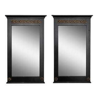 Pair Empire Style Ebonised Mirrors With Brass Mounts
