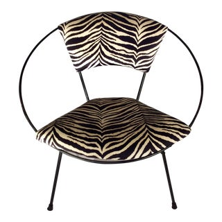 Mid-Century Modern Faux Zebra Upholstery Hoop Chair