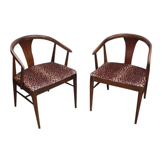 Mid-century Modern Leopard Arm Chairs - A Pair - Image 1 of 7