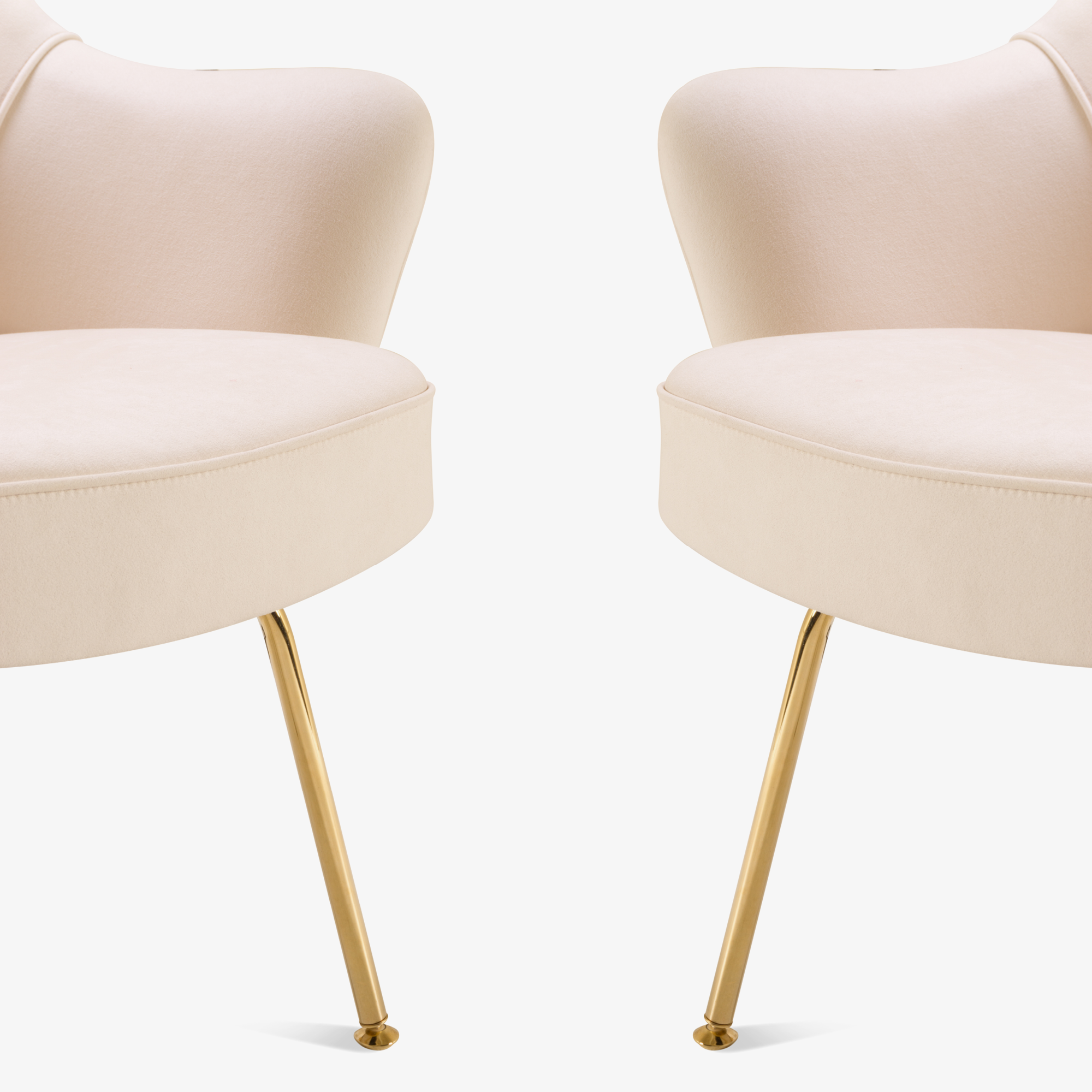 Saarinen Executive Arm Chairs In Bone Luxe Suede, 24k Gold Edition, Set Of 6