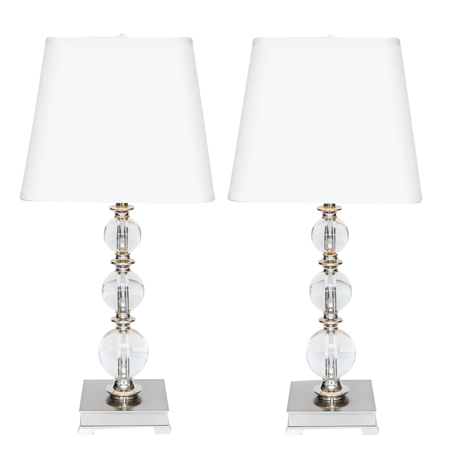 Crystal Ball Table Lamps  A Pair