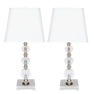Crystal Ball Table Lamps- A Pair
