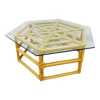 Rattan & Glass Top Coffee Table