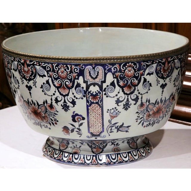 19th Century French Hand-Painted Faience Cachepot - Image 5 of 10