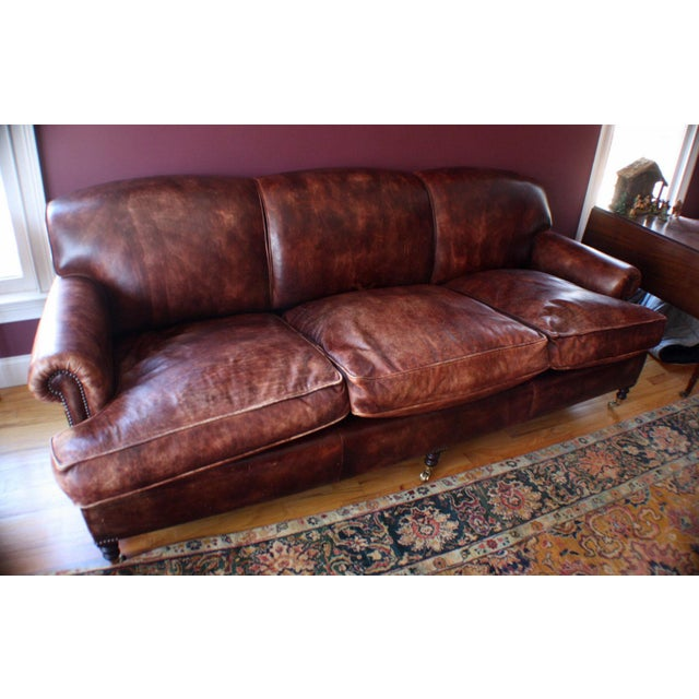 Vintage George Smith Terracotta Brown Leather Sofa Chairish