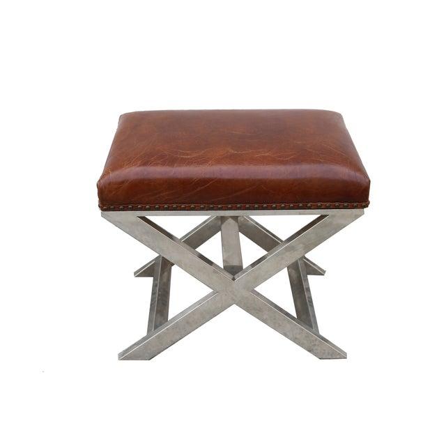 Pasargad Paris Club Leather Bench - Image 2 of 4