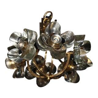 Murano Mazzega Glass & Brass Flower Chandelier