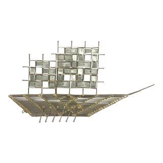 Modernist Brutalist Metal Ship Wall Sculpture