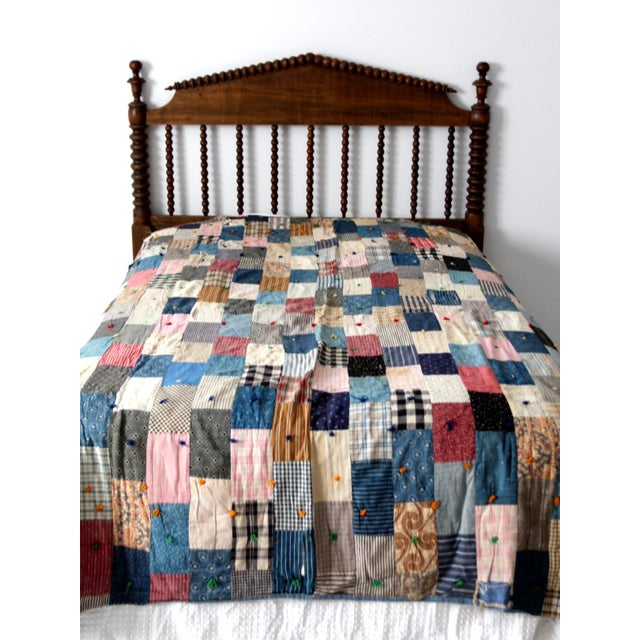 Vintage Hand-Tied Patchwork Quilt - Image 8 of 10