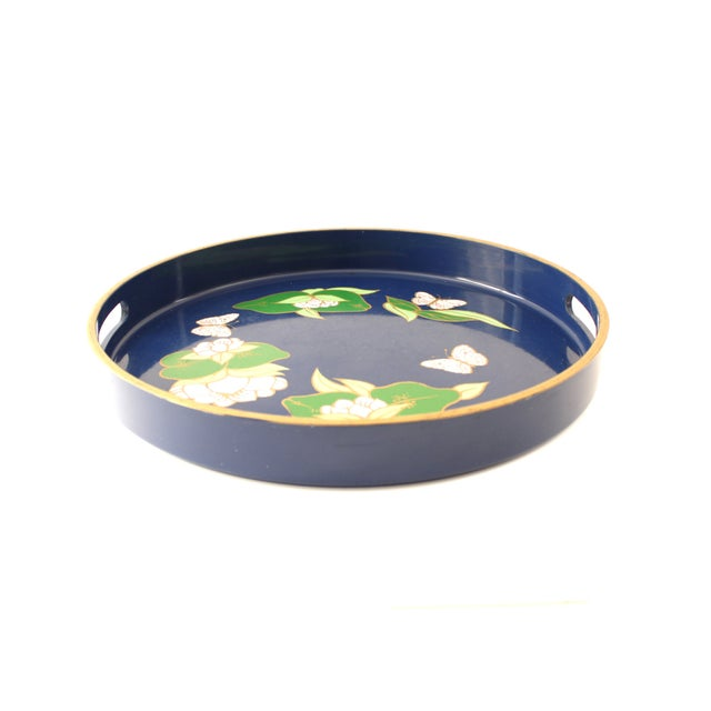 Vintage Blue Lacquered Lotus Flower Serving Tray - Image 4 of 6
