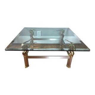 Mid Century Brass Ibex Ram's Head Coffee Table