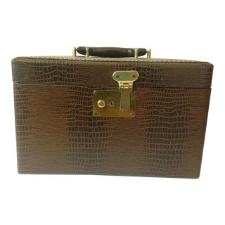 Vintage Faux Crocodile Carrying Case With Handle