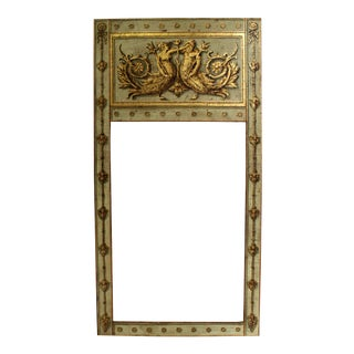 Large Antiqued Handpainted and Gilded Neoclassical Trumeau Mirror Frame