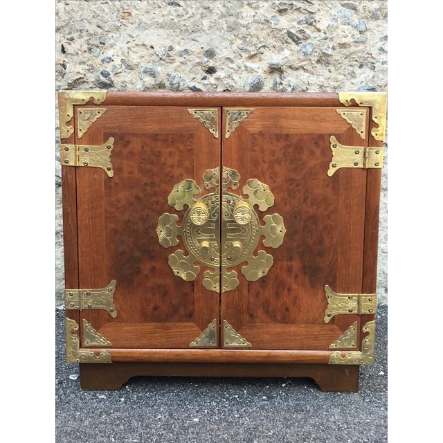 Vintage Chinoiserie Wood & Brass Jewelry Box - Image 3 of 6