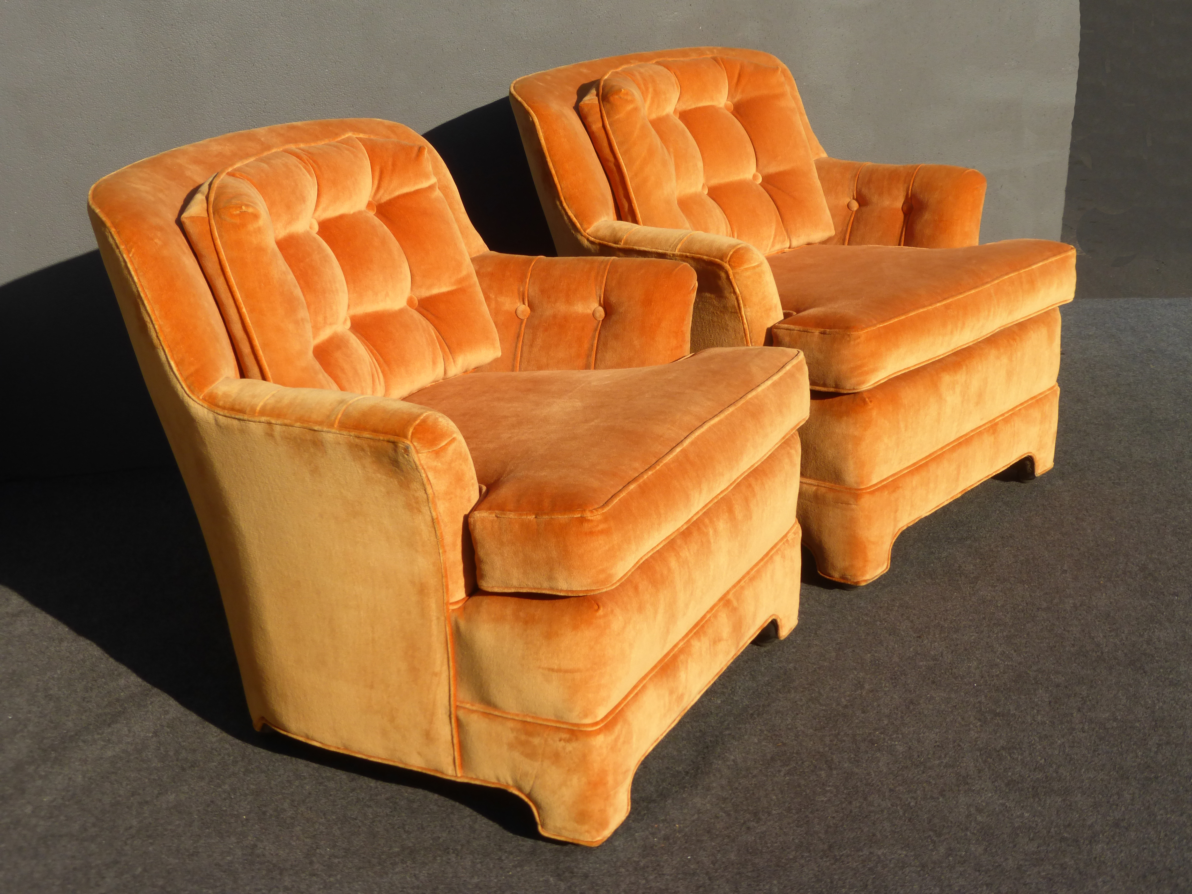 Mid Century Tufted Orange Velvet Accent Chairs   A Pair By Marge Carson    Image 4