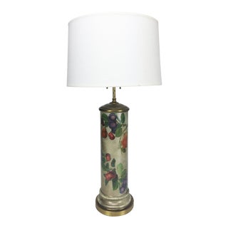 Mid-Century Decoupage Silvered Glass Table Lamp