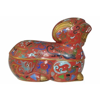 Antique Red Cloisonné Ram
