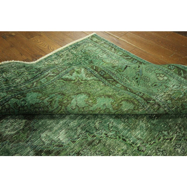 Overdyed Floral Hand Knotted Wool Rug - 9' x 12' - Image 9 of 10